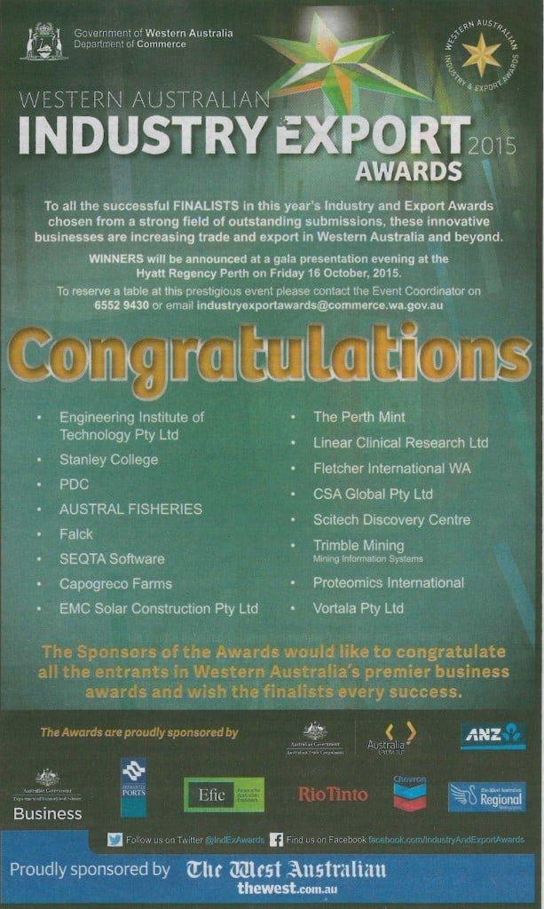 West Australian WA Industry Export Awards Finalists