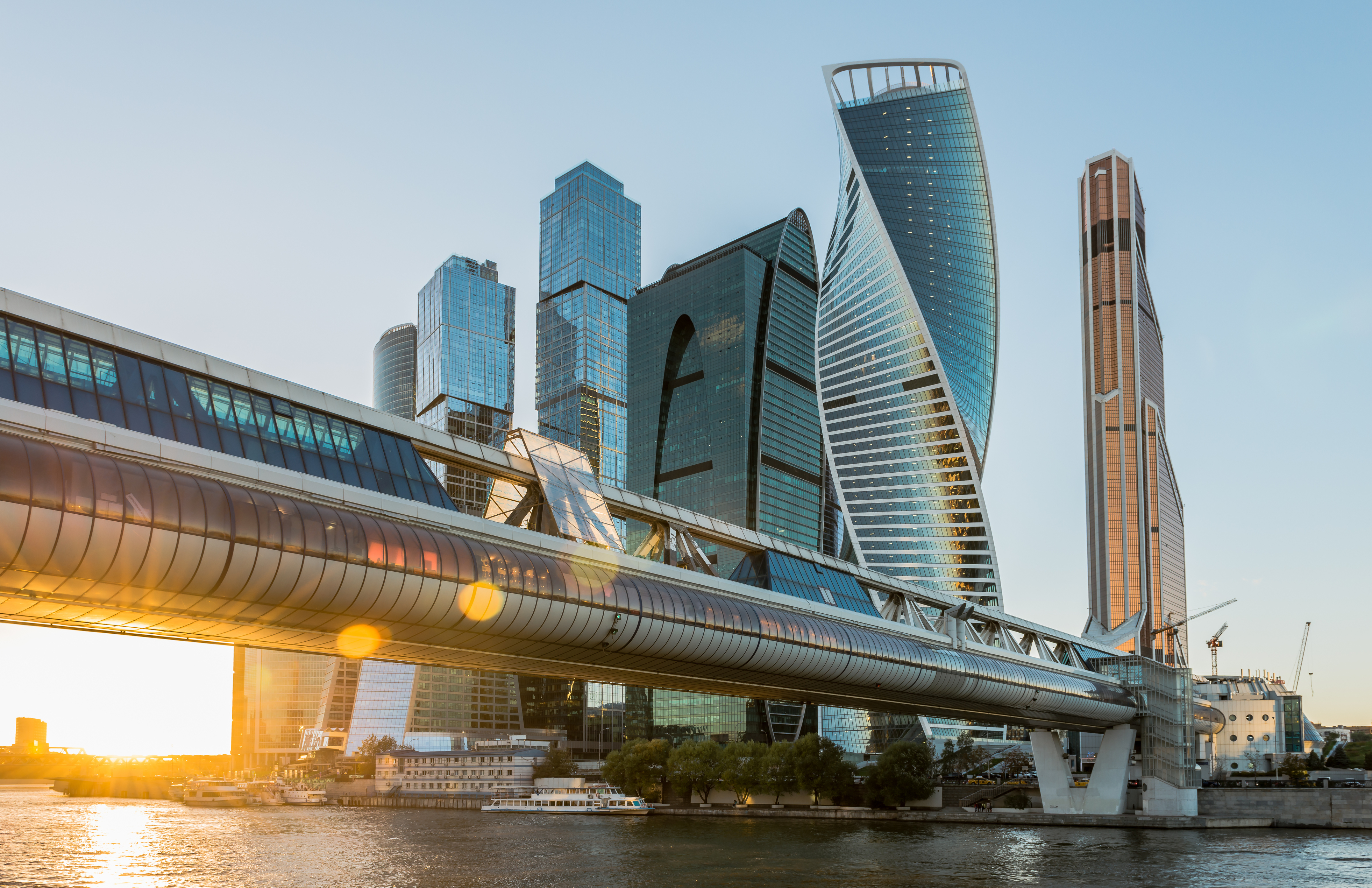 City of Moscow. Russia. Business center Moscow-city at sunset.