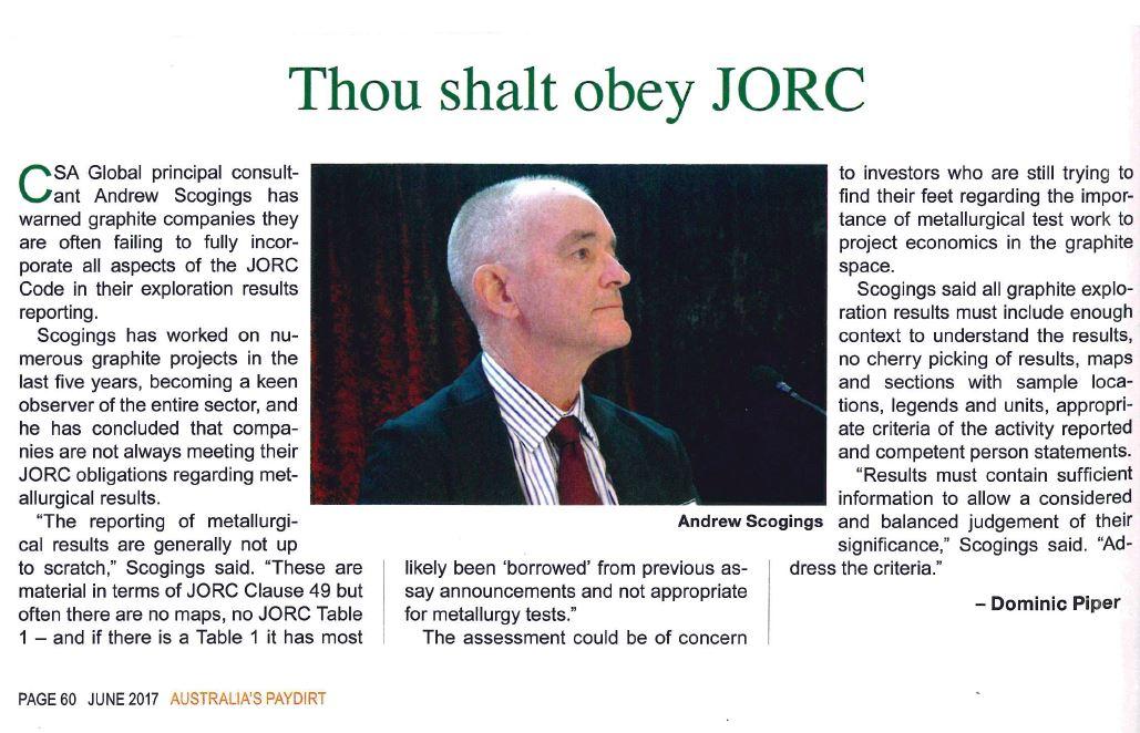 Thou shalt obey JORC_Australia's Paydirt_June Edition 2017