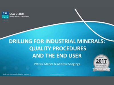 Drilling for Industrial Minerals – Quality Procedures & the End User