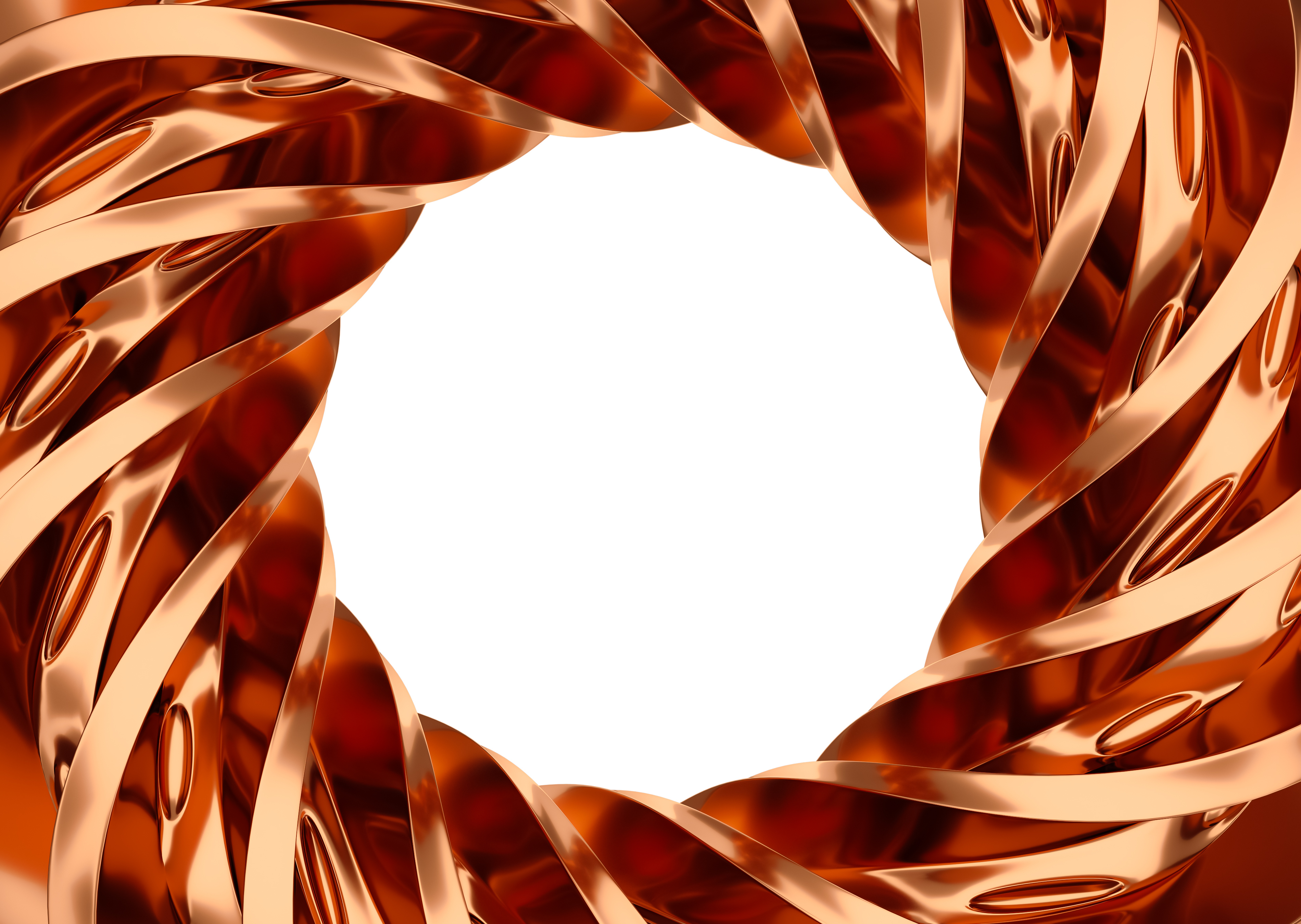 Designed copper spiral 3d rendering.