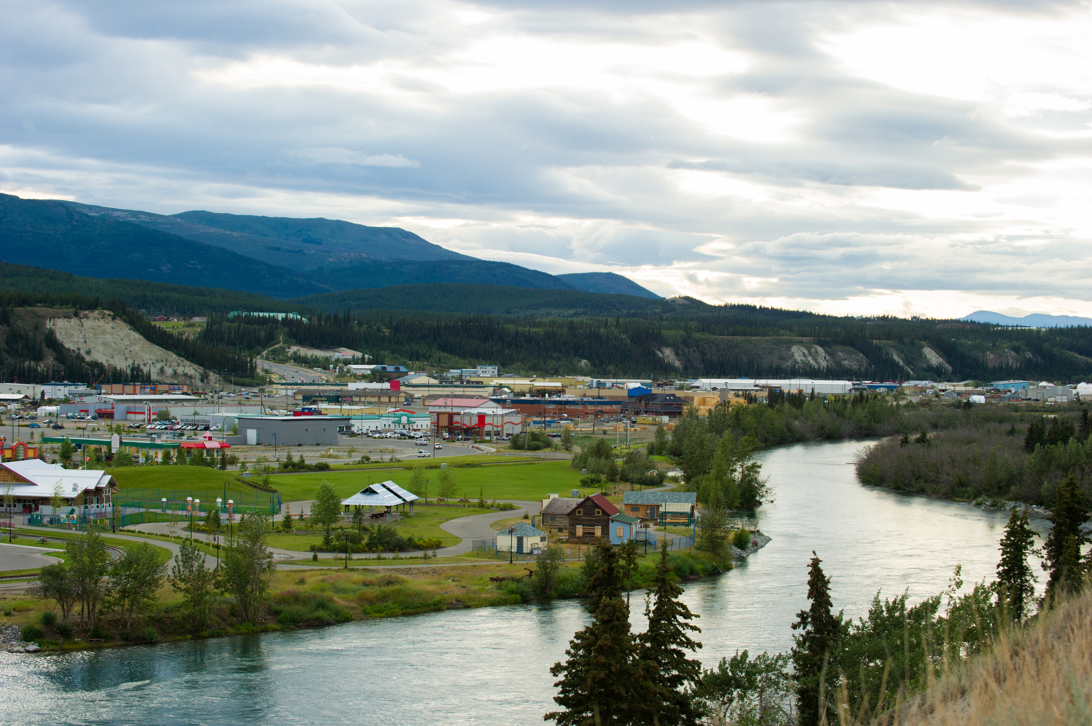 Frontier city of Whitehorse along the Yukon River