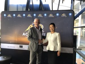 CSA Global Managing Director, Jeff Elliott, congratulating Accelerate's Managing Director, Yaxi Zhan on their recent listing.