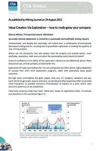 Value Creation Via Exploration
