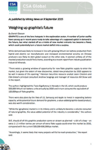 Weighing Up Graphite's Future