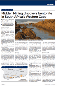 Midden Mining Discovers Bentonite In South Africa's Western Cape