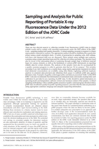 Sampling and Analysis For Public Reporting Of Portable X-Ray Florescence Data Under The 2012 Edition Of The JORC Code