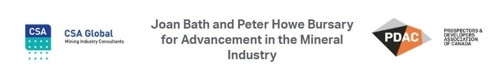 Joan Bath & Peter Howe Bursary for Advancement in the Mineral Industry