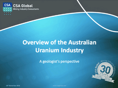 Overview Of The Australian Uranium Industry