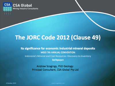 The JORC Code 2012 (Clause 49): Its Significance For Economic Industrial Mineral Deposits