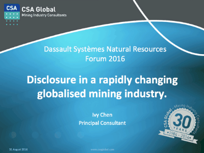 Disclosure in a Rapidly Changing Globalised Mining Industry