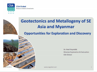 Geotectonics and Metallogeny of SE Asia and Myanmar – 2013