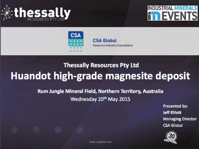 Thessally Resources – Huandot – A High-Grade Mangesite Deposit In the Rum Jungle Mineral Field, Northern Territory – May 2015