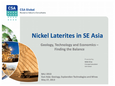 Nickel Laterites In SE Asia – May2013 Geology, Technology and Economics – Finding the Balance