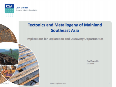 Tectonics and Metallogy Of Mainland Southeast Asia – March 2015