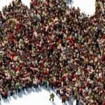 People making the shape of Australia