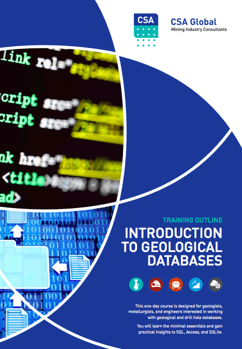 Training Outline: Introduction to geological databases