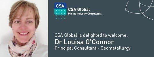 Dr Louisa O'Connor, Principal Consultant - Geometallurgy, CSA Global