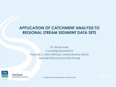 Application of catchment analysis to regional stream sediment data sets