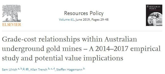 Grade-cost relationships within Australian underground gold mines-A 2014-2017 empirical study and potential value implications