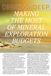 Digging Deep: Making the Most of Mineral Exploration Budgets