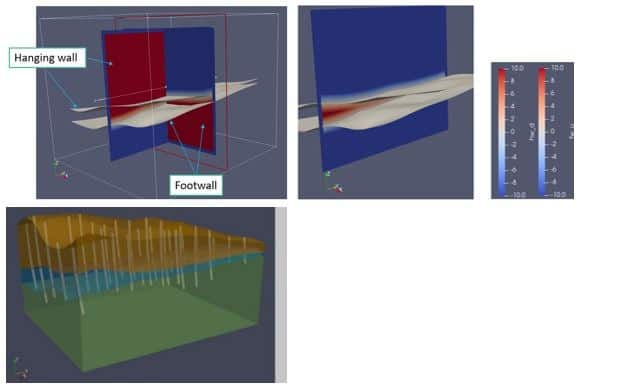 Construcción de solidos 3D con funciones implícitas booleanas. En gris superficies de contacto.