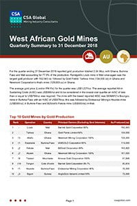 West African Gold Mines Quarterly Summary to 31 December 2018