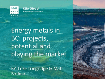 Energy Metals in British Columbia: Projects, Potential & Playing the Market