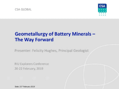 Geometallurgy of Battery Minerals – The Way Forward
