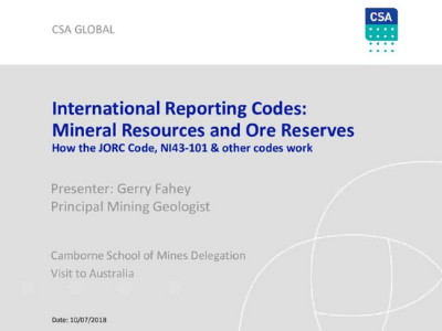 International Reporting Codes: Mineral Resources & Ore Reserves