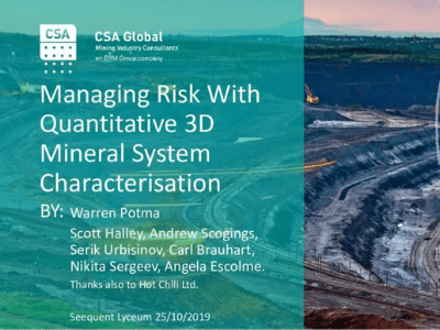 Managing Risk with Quantitative 3D Mineral System Characterisation