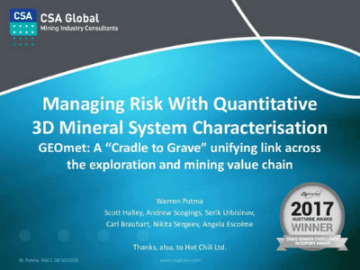 Managing Risk with Quantitative Integrated 3D Mineral System Characterisation