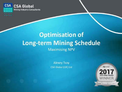Optimisation of Long-Term Mining Schedule