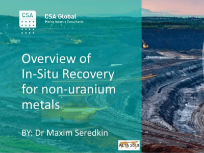 Overview of In-Situ Recovery for Non-Uranium Metals
