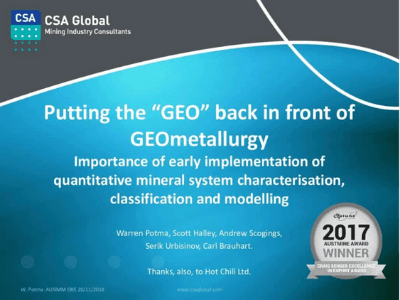 "Putting the ""GEO"" Back in Front of GEOmetallurgy"