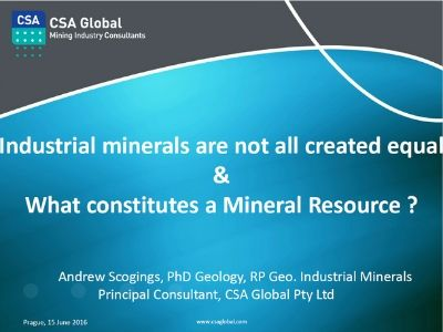 Industrial Minerals are not all Created Equal: What Constitutes a Mineral Resource?