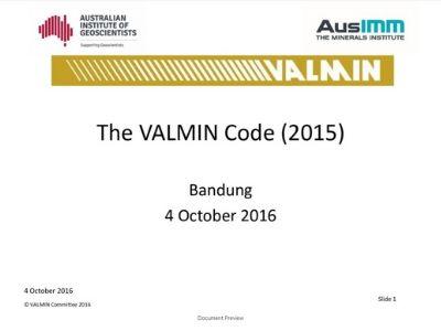 The VALMIN Code (2015)
