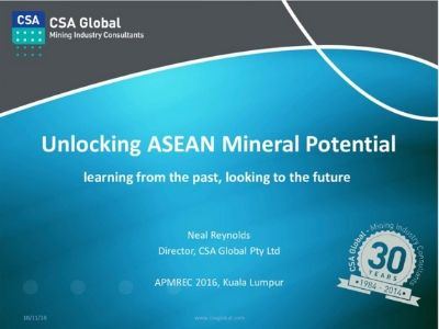 Unlocking ASEAN Mineral Potential; Learning from the Past, Looking to the Future