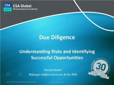 Due Diligence; Understanding Risks & Identifying Successful Opportunities