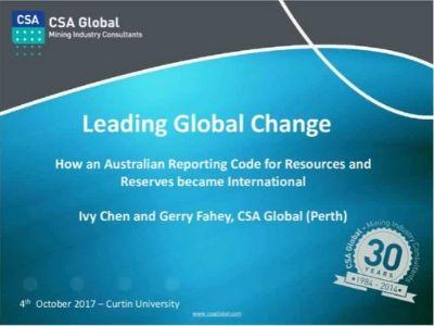 Leading Global Change; How an Australian Code Became Global