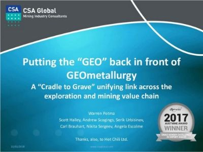 Putting the GEO Back in Front of GEOmetallurgy