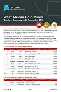 West African Gold Mines Quarterly Summary to 30 September 2019