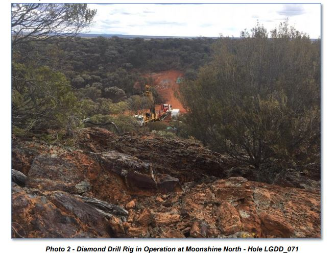 Diamond Drill Rig in Operation at Moonshine North