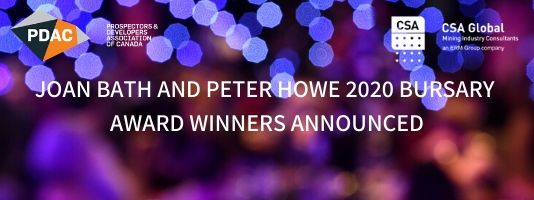 Joan Bath and Peter Howe 2020 Bursary Award Winners Announced