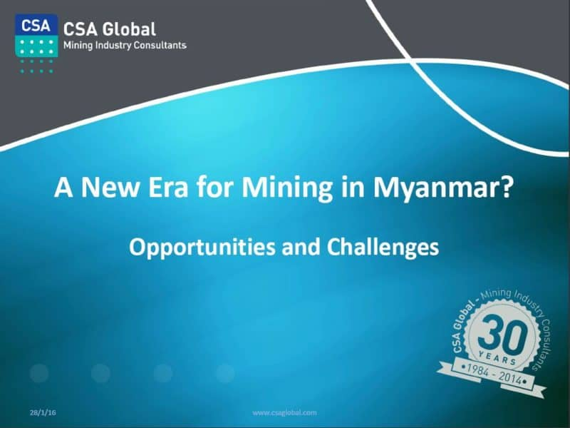 A New Era for Mining in Myanmar?