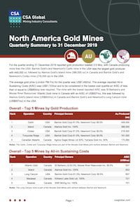 North American Gold Mines Quarterly Summary to 31 December 2019