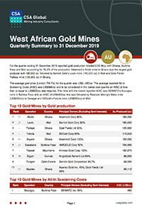 West African Gold Mines Quarterly Summary to 31 December 2019