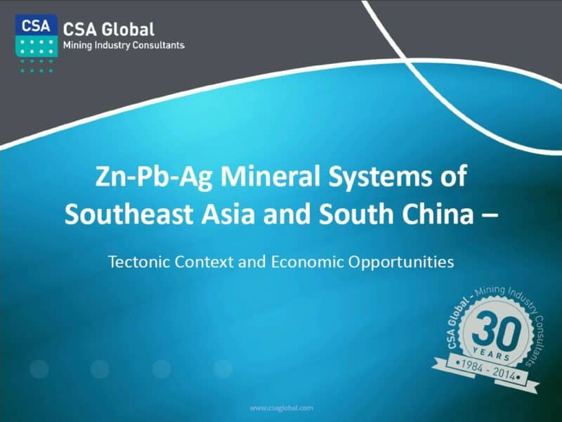 Zn-Pb-Ag Mineral Systems of Southeast Asia and South China