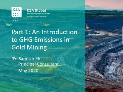 Part 1: An Introduction to GHG Emissions in Gold Mining