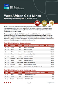 West African Gold Mines Quarterly Summary to 31 March 2020